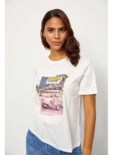 Setre Ekru Kısa Kol Baskılı T-Shirt Ekru